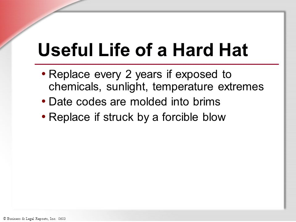Useful Life of a Hard Hat