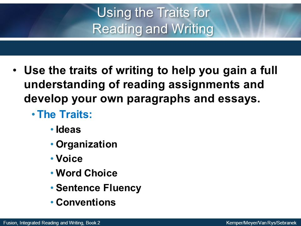 Using the Traits for Reading and Writing