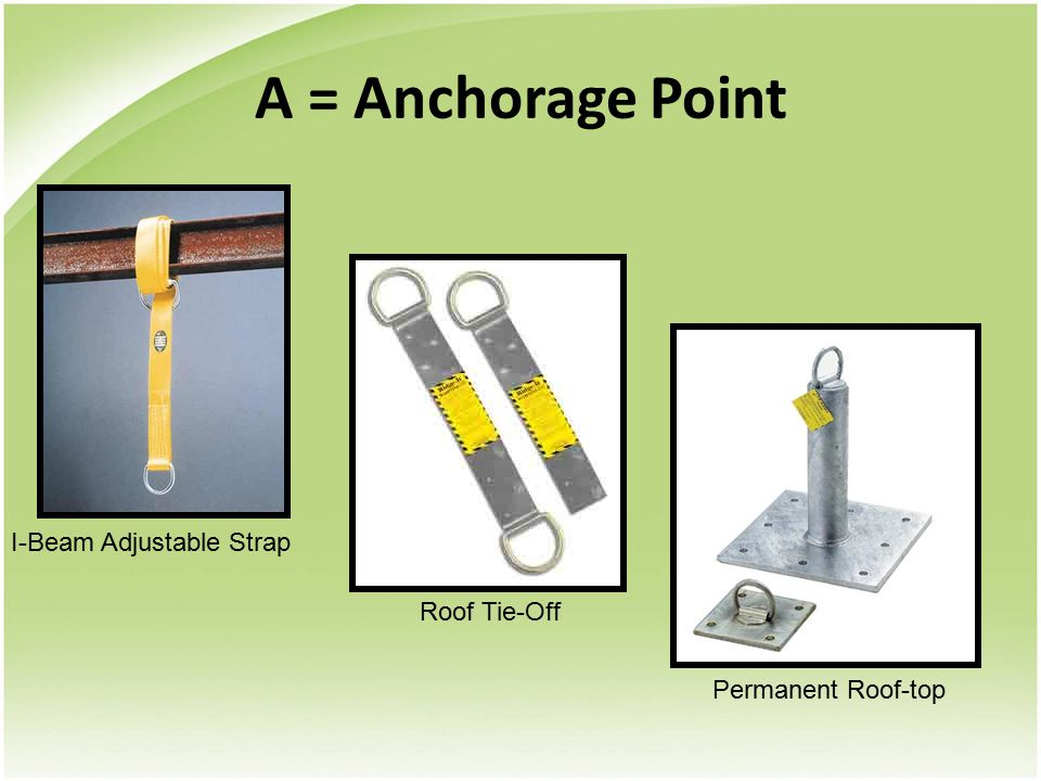 A = Anchorage Point I-Beam Adjustable Strap Roof Tie-Off