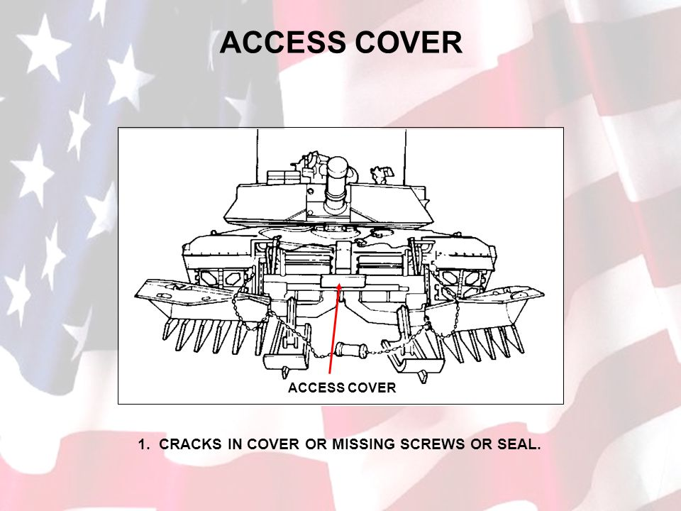 ACCESS COVER 1. CRACKS IN COVER OR MISSING SCREWS OR SEAL.