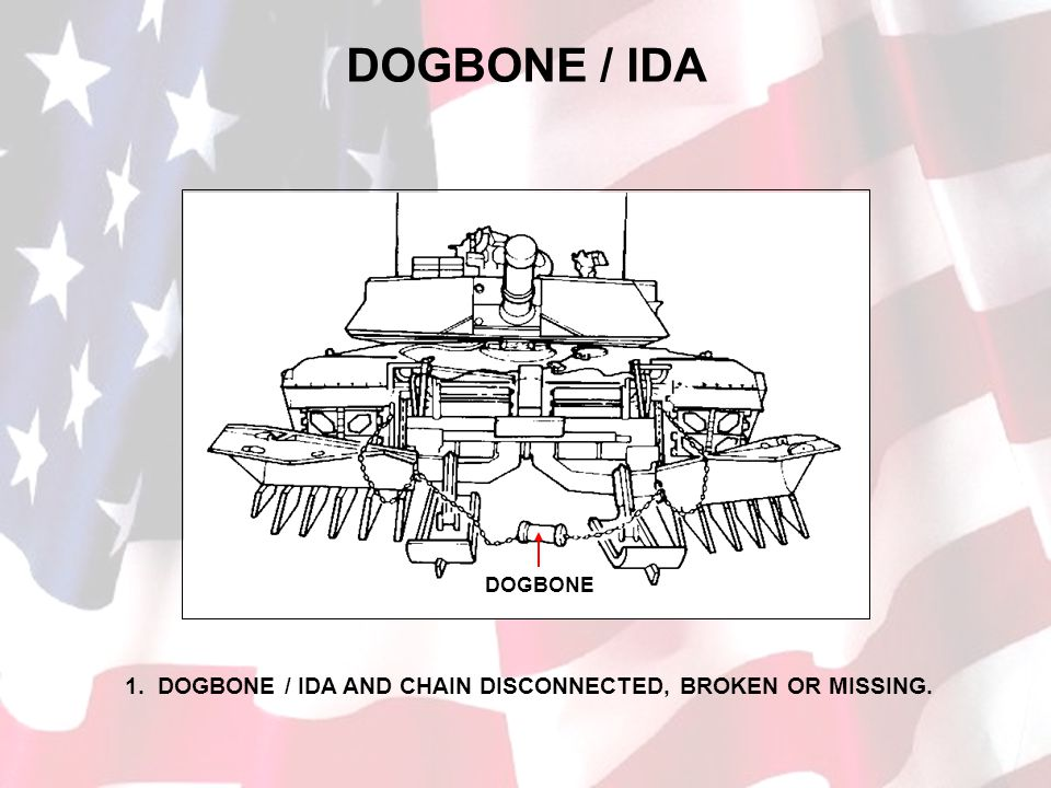 DOGBONE / IDA DOGBONE 1. DOGBONE / IDA AND CHAIN DISCONNECTED, BROKEN OR MISSING.
