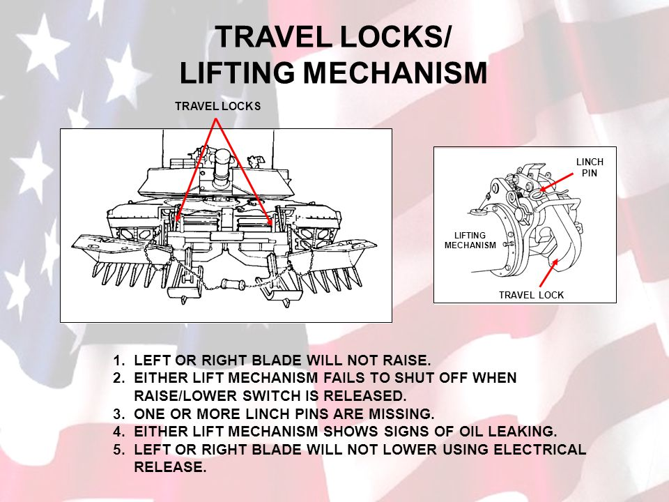 TRAVEL LOCKS/ LIFTING MECHANISM
