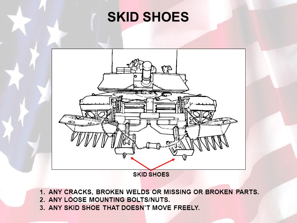 SKID SHOES 1. ANY CRACKS, BROKEN WELDS OR MISSING OR BROKEN PARTS.