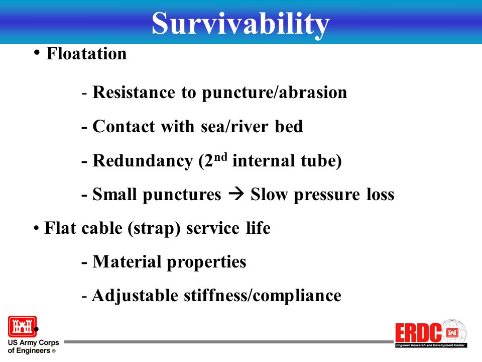 Survivability Floatation Resistance to puncture/abrasion