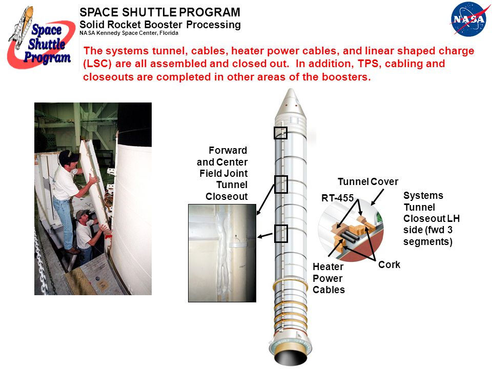 The systems tunnel, cables, heater power cables, and linear shaped charge (LSC) are all assembled and closed out. In addition, TPS, cabling and closeouts are completed in other areas of the boosters.