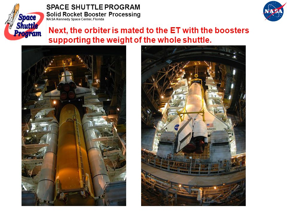 Next, the orbiter is mated to the ET with the boosters supporting the weight of the whole shuttle.
