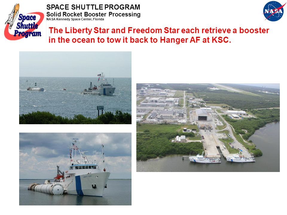 The Liberty Star and Freedom Star each retrieve a booster in the ocean to tow it back to Hanger AF at KSC.