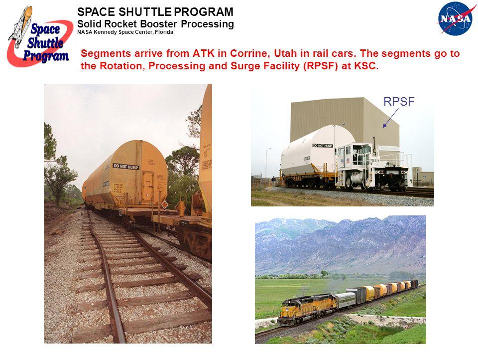 Segments arrive from ATK in Corrine, Utah in rail cars