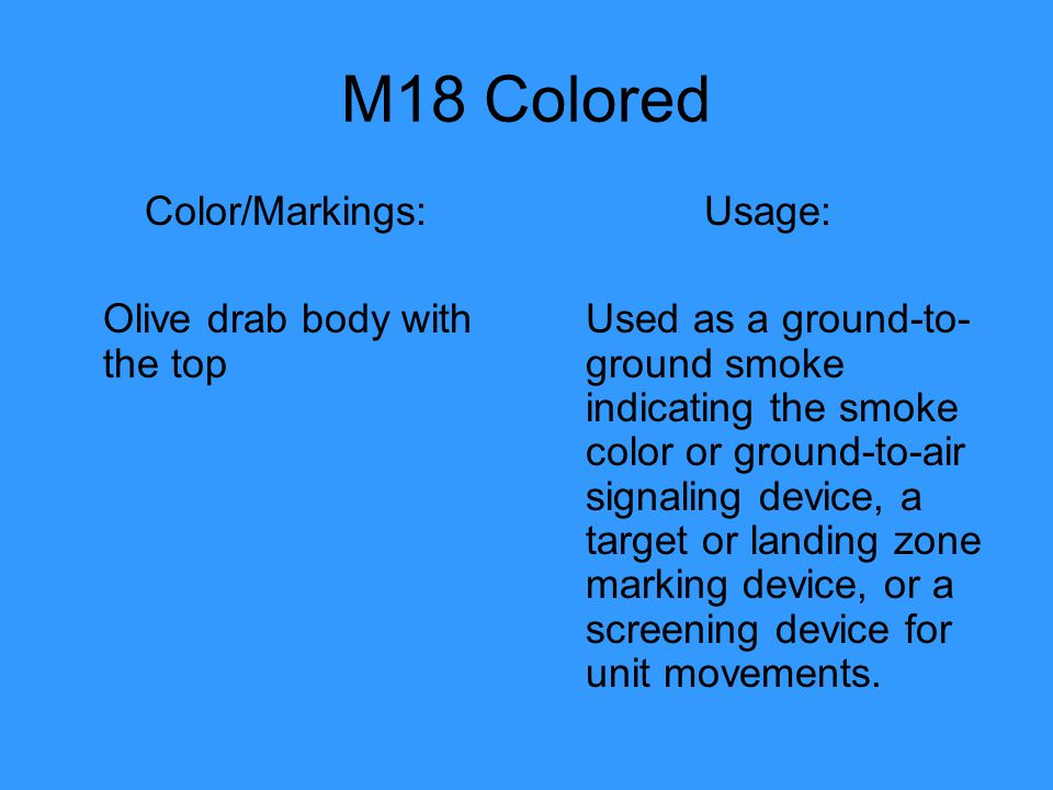 M18 Colored Color/Markings: Olive drab body with the top Usage: