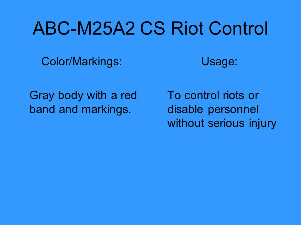 ABC-M25A2 CS Riot Control Color/Markings: