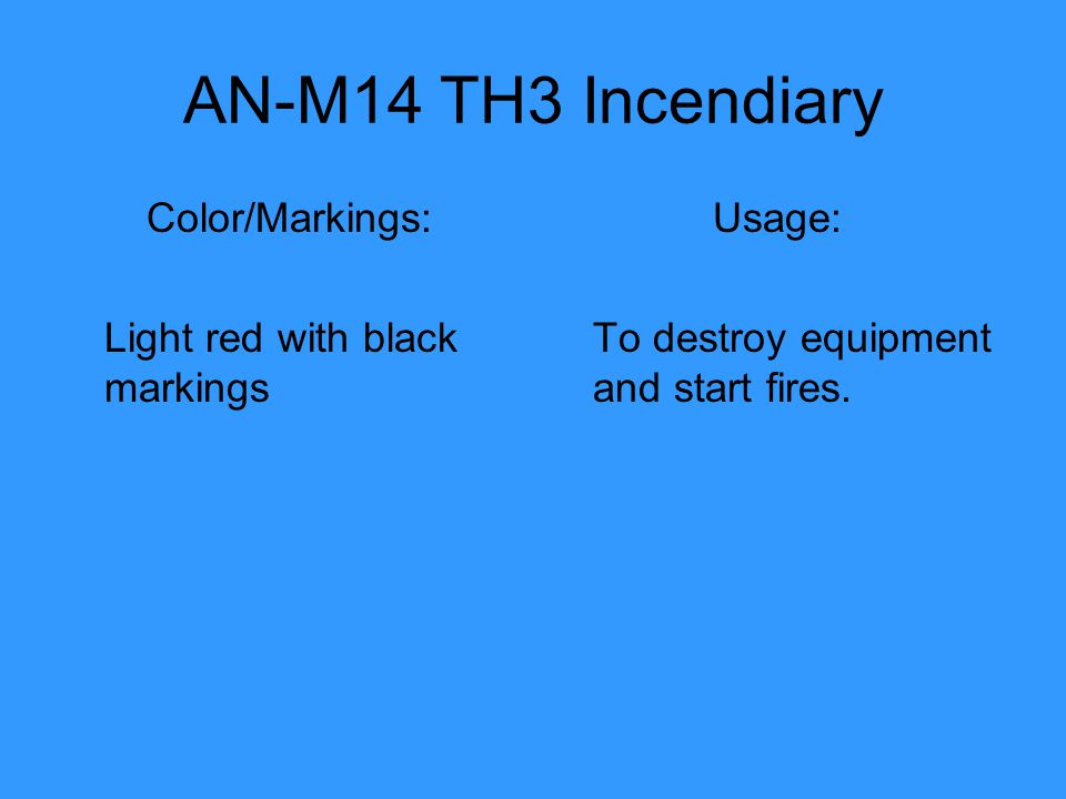 AN-M14 TH3 Incendiary Color/Markings: Light red with black markings