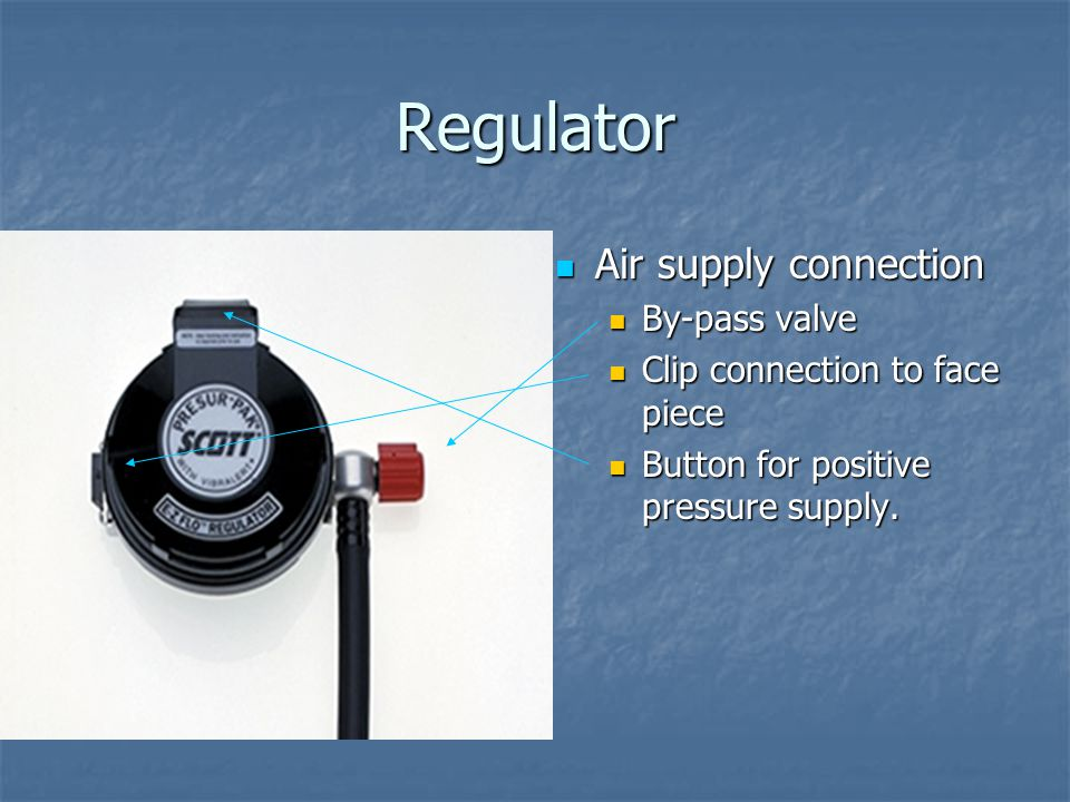 Regulator Air supply connection By-pass valve