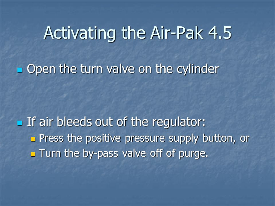 Activating the Air-Pak 4.5
