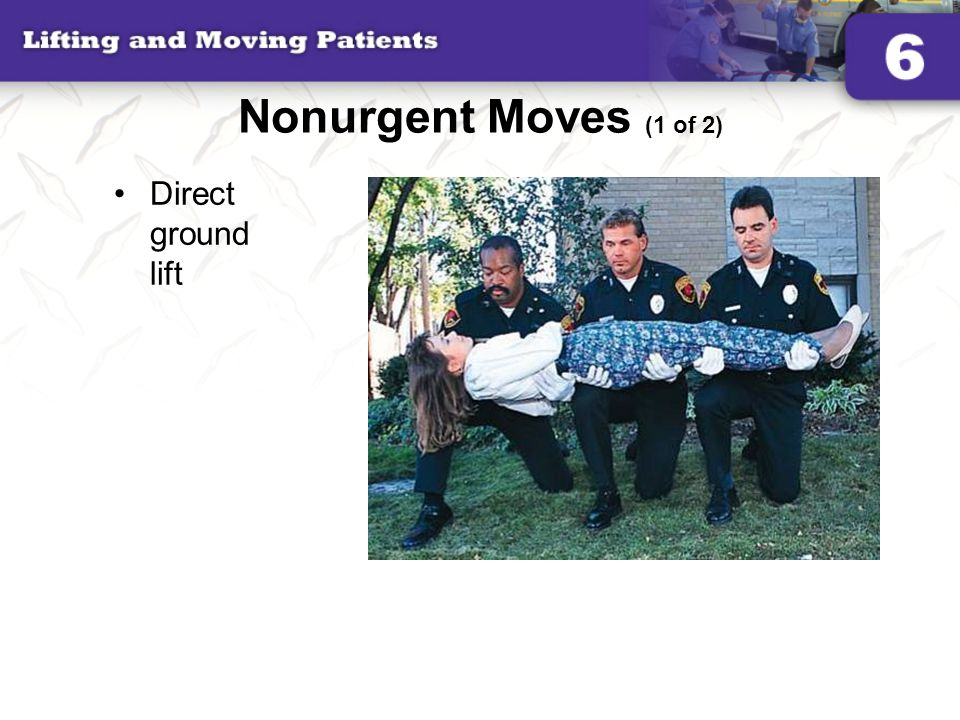 Nonurgent Moves (1 of 2) Direct ground lift