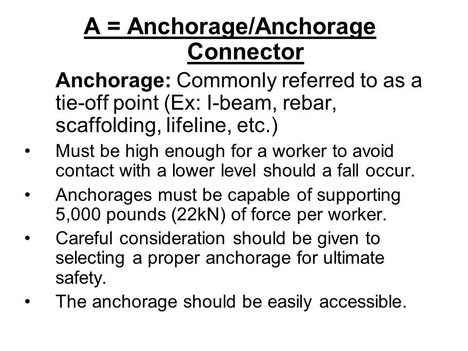 A = Anchorage/Anchorage Connector
