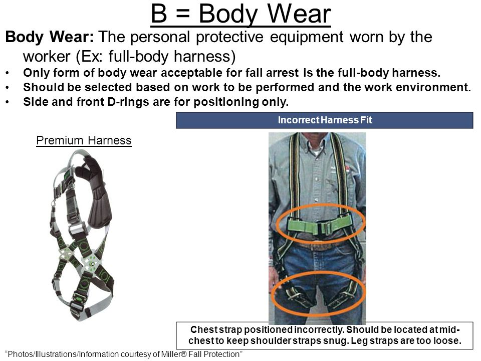 B = Body Wear Body Wear: The personal protective equipment worn by the worker (Ex: full-body harness)