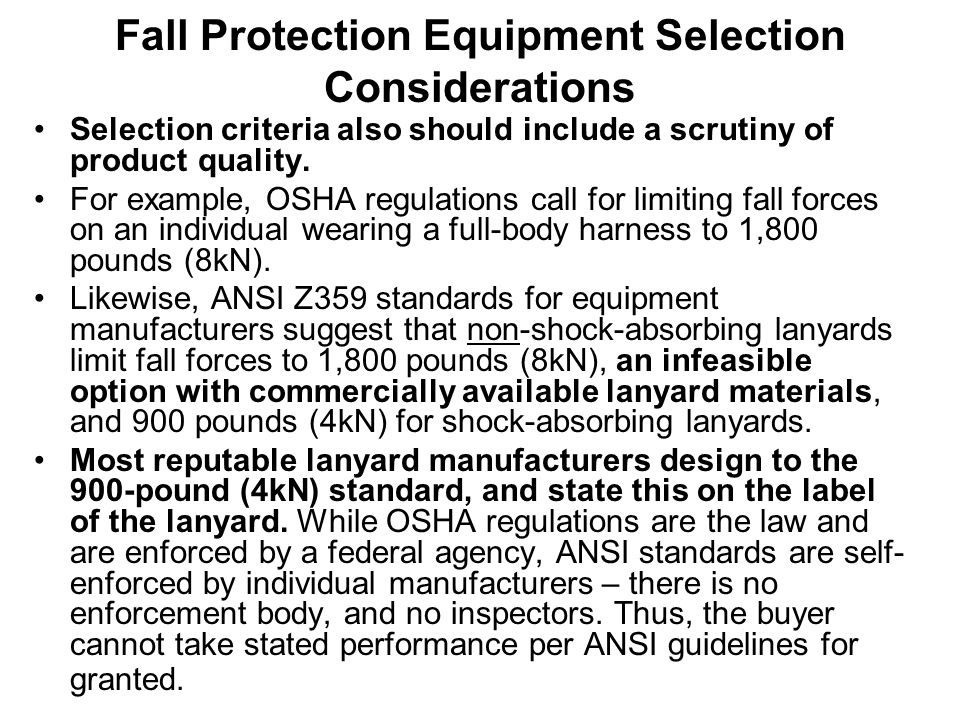 Fall Protection Equipment Selection Considerations