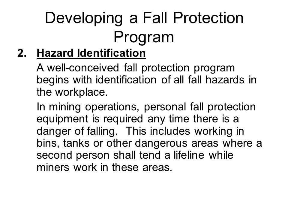 Developing a Fall Protection Program
