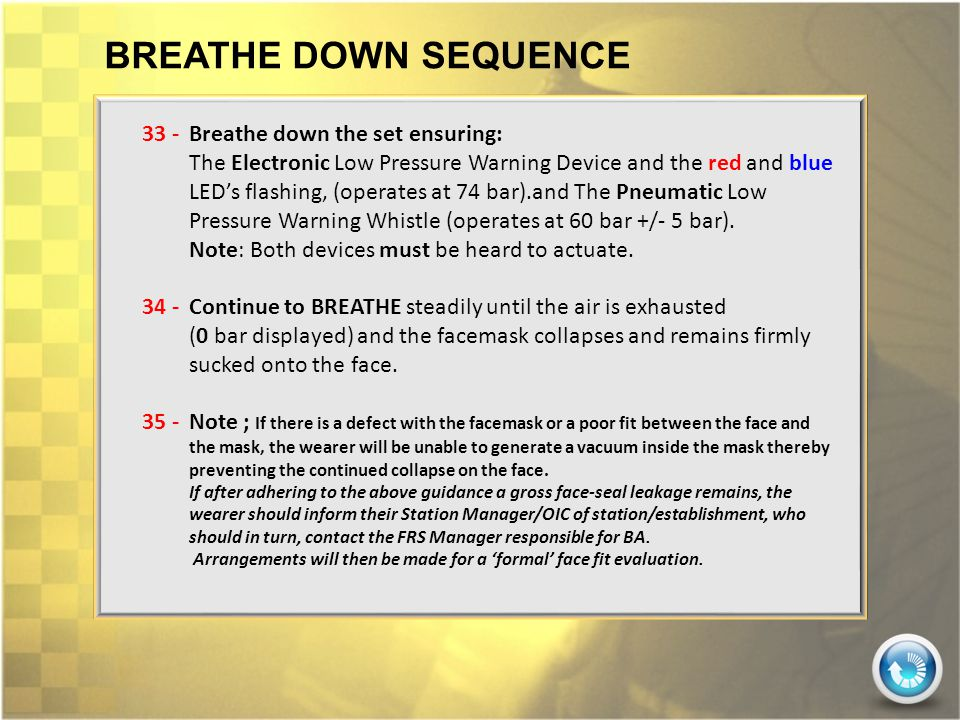 BREATHE DOWN SEQUENCE 33 - Breathe down the set ensuring: