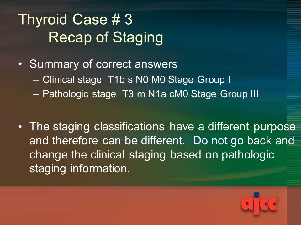 Thyroid Case # 3 Recap of Staging