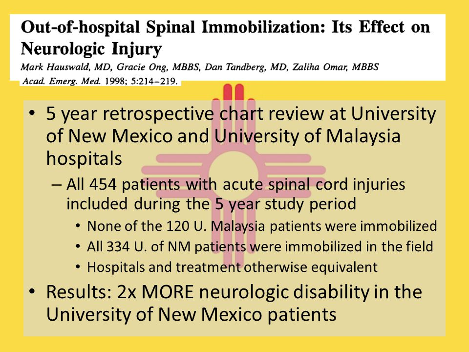 5 year retrospective chart review at University of New Mexico and University of Malaysia hospitals