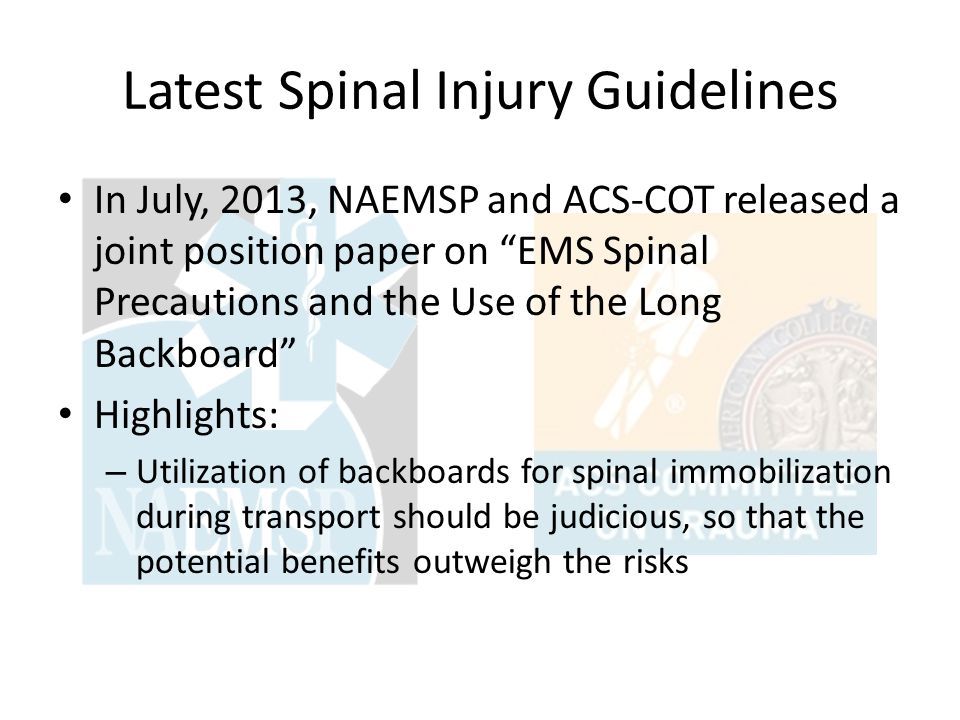 Latest Spinal Injury Guidelines