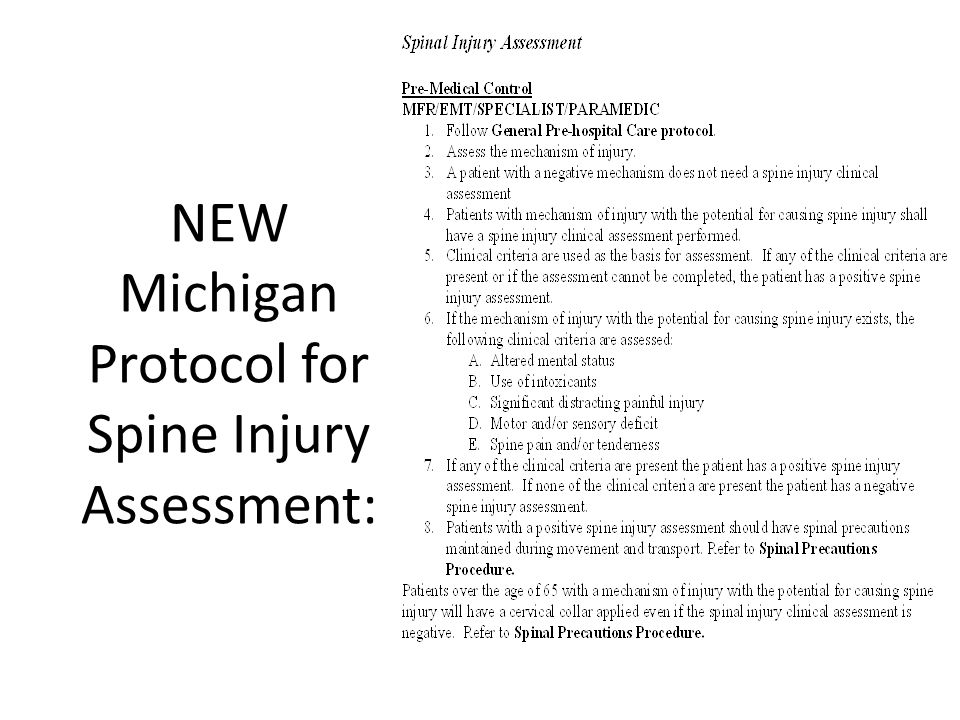 NEW Michigan Protocol for Spine Injury Assessment: