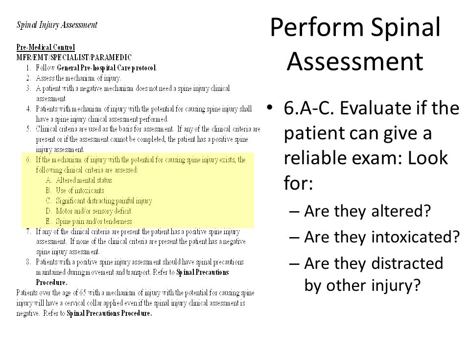 Perform Spinal Assessment
