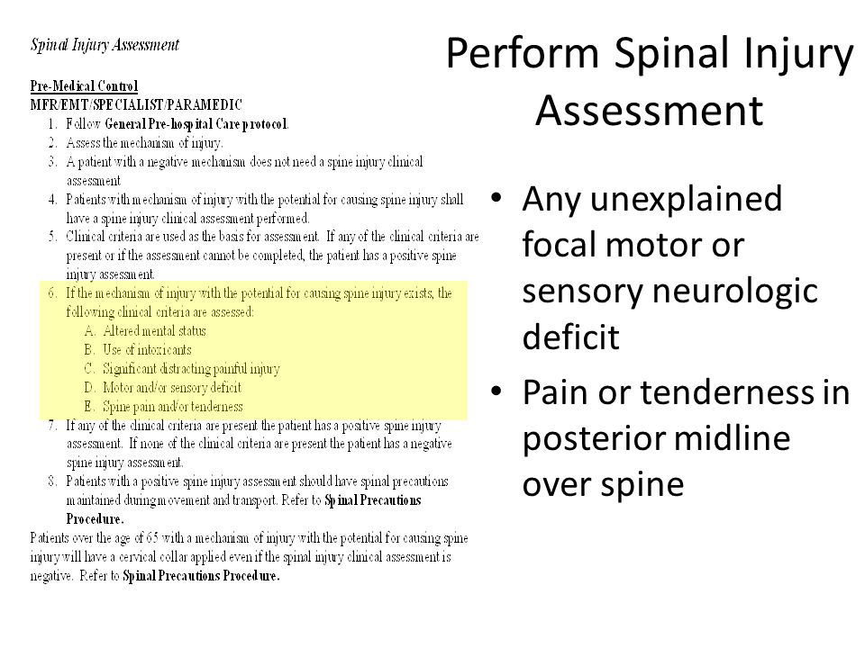 Perform Spinal Injury Assessment