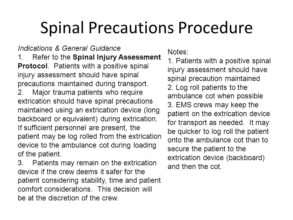 Spinal Precautions Procedure