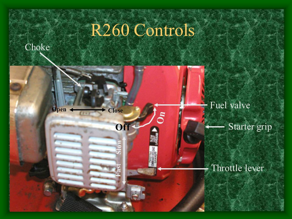 R260 Controls Choke Fuel valve On Off Starter grip Throttle lever Open