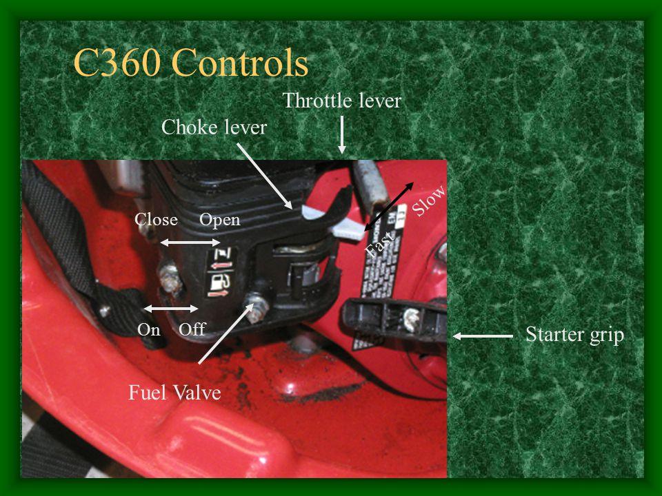 C360 Controls Throttle lever Choke lever Starter grip Fuel Valve