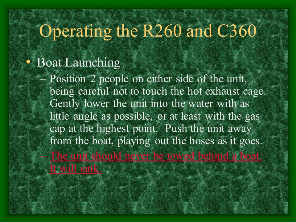 Operating the R260 and C360 Boat Launching