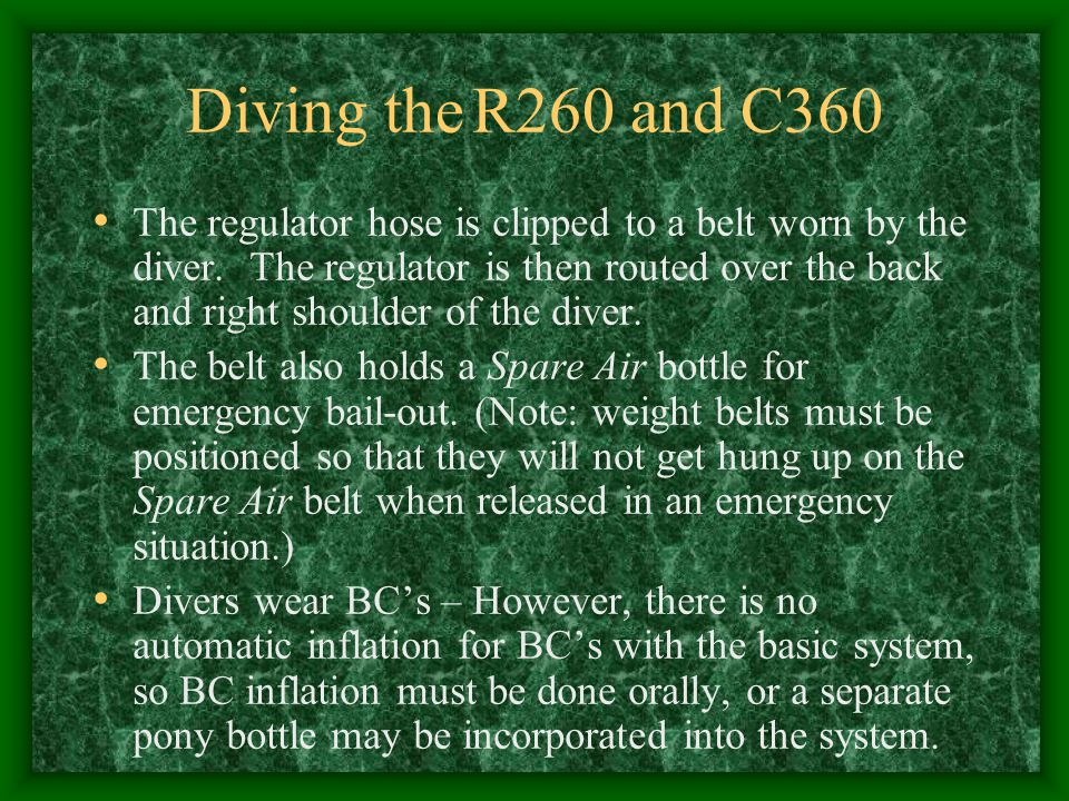 Diving the R260 and C360
