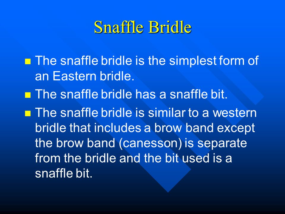 Snaffle Bridle The snaffle bridle is the simplest form of an Eastern bridle. The snaffle bridle has a snaffle bit.