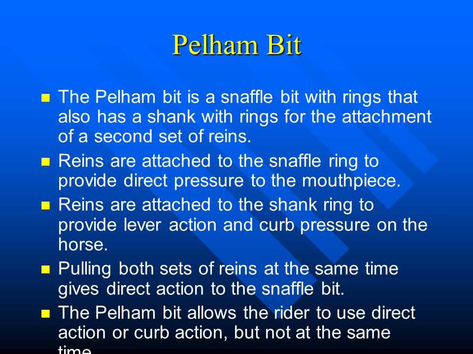 Pelham Bit The Pelham bit is a snaffle bit with rings that also has a shank with rings for the attachment of a second set of reins.