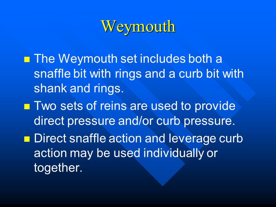 Weymouth The Weymouth set includes both a snaffle bit with rings and a curb bit with shank and rings.