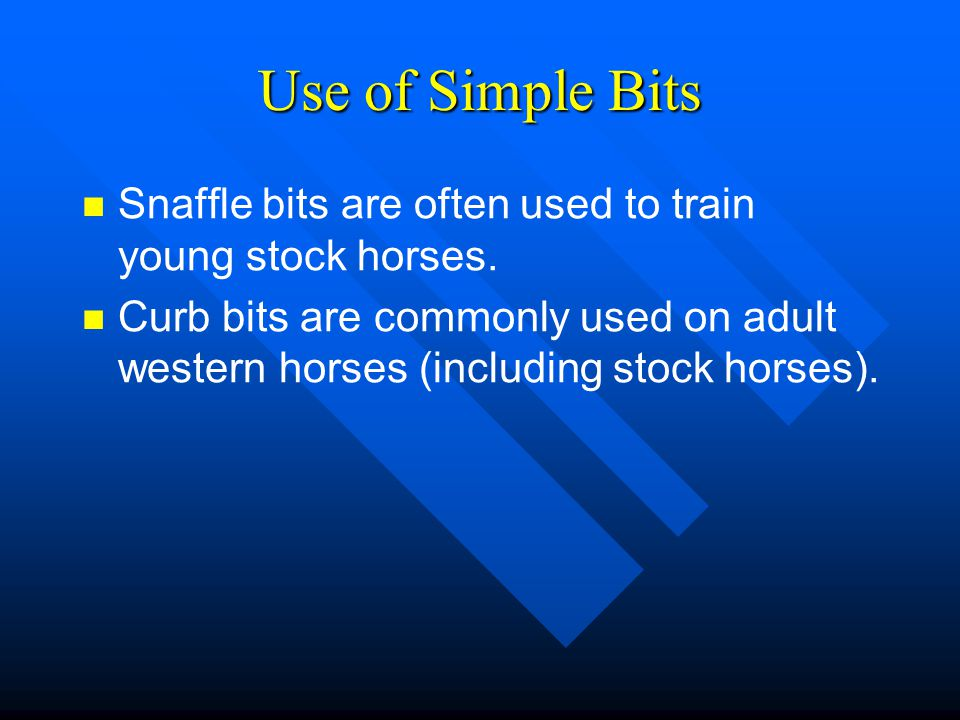 Use of Simple Bits Snaffle bits are often used to train young stock horses.