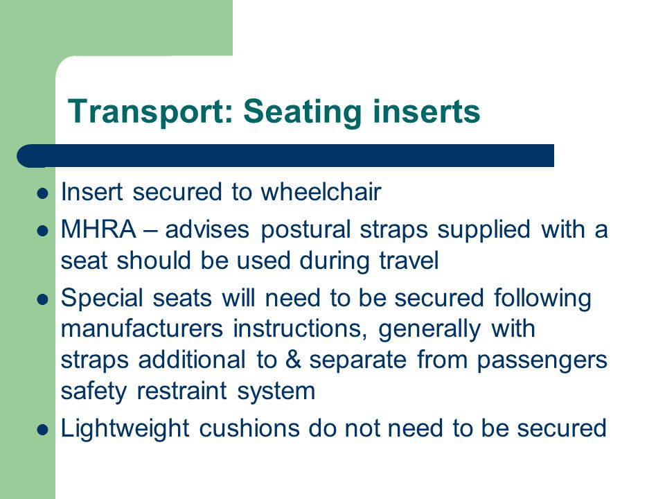 Transport: Seating inserts