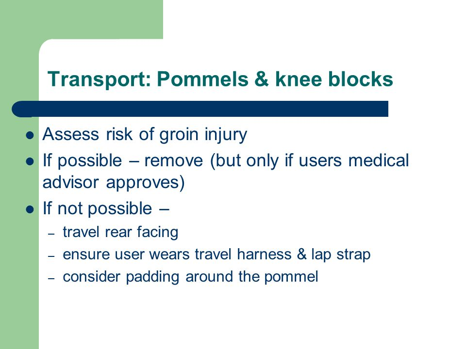 Transport: Pommels & knee blocks
