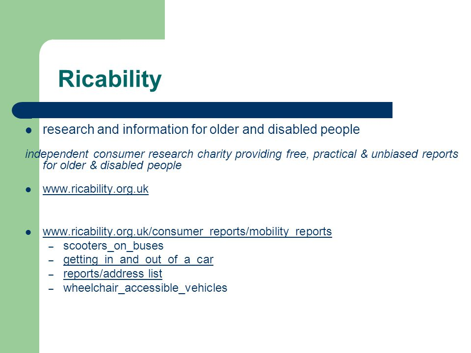 Ricability research and information for older and disabled people