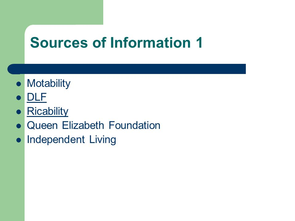 Sources of Information 1