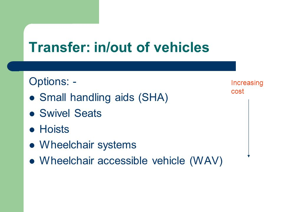 Transfer: in/out of vehicles