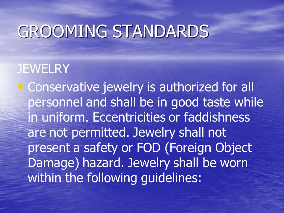 GROOMING STANDARDS JEWELRY