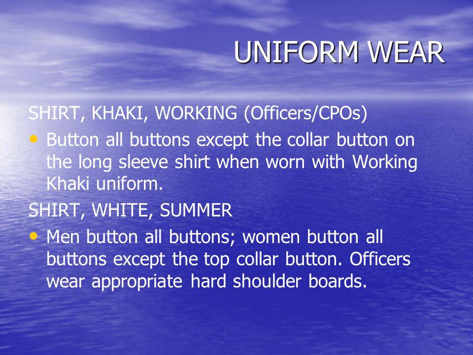 UNIFORM WEAR SHIRT, KHAKI, WORKING (Officers/CPOs)
