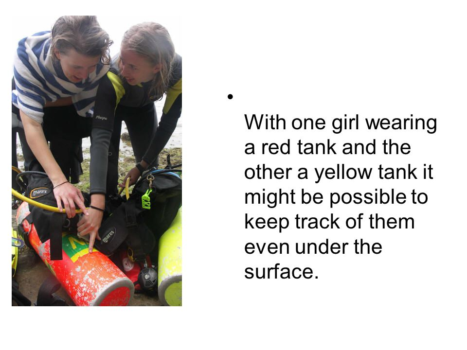 With one girl wearing a red tank and the other a yellow tank it might be possible to keep track of them even under the surface.