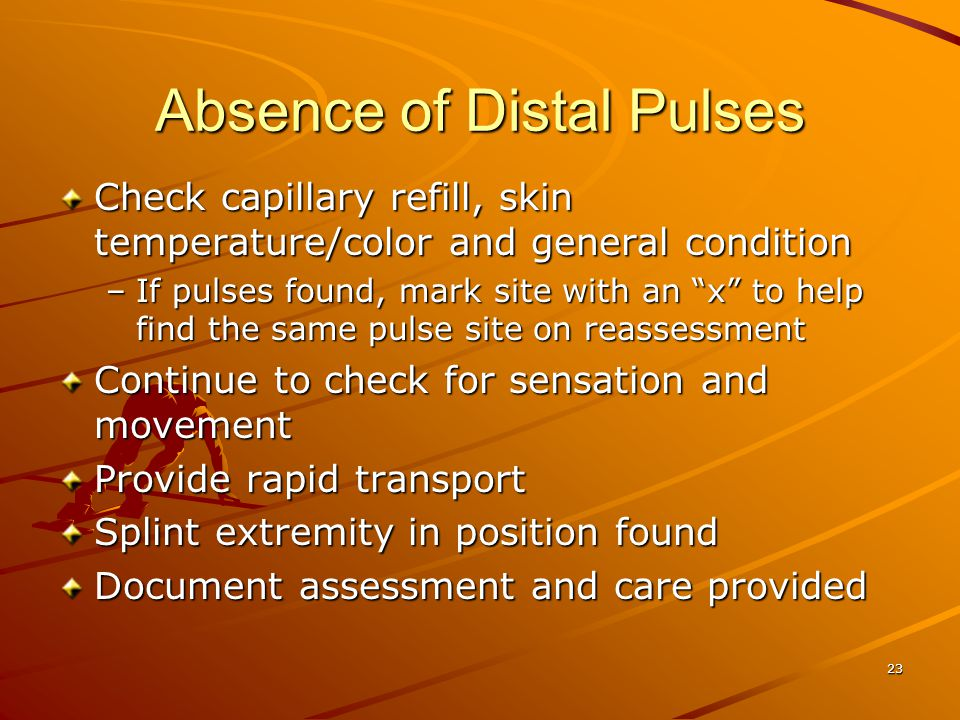 Absence of Distal Pulses