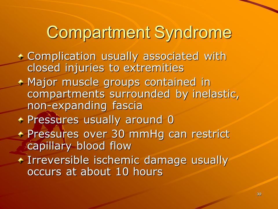Compartment Syndrome Complication usually associated with closed injuries to extremities.