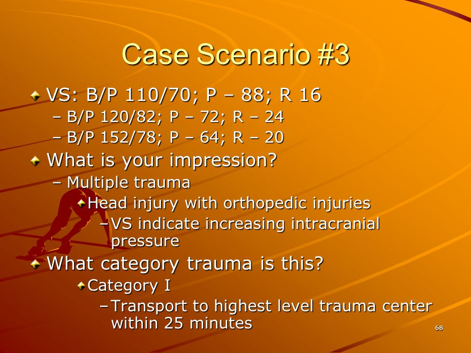 Case Scenario #3 VS: B/P 110/70; P – 88; R 16 What is your impression