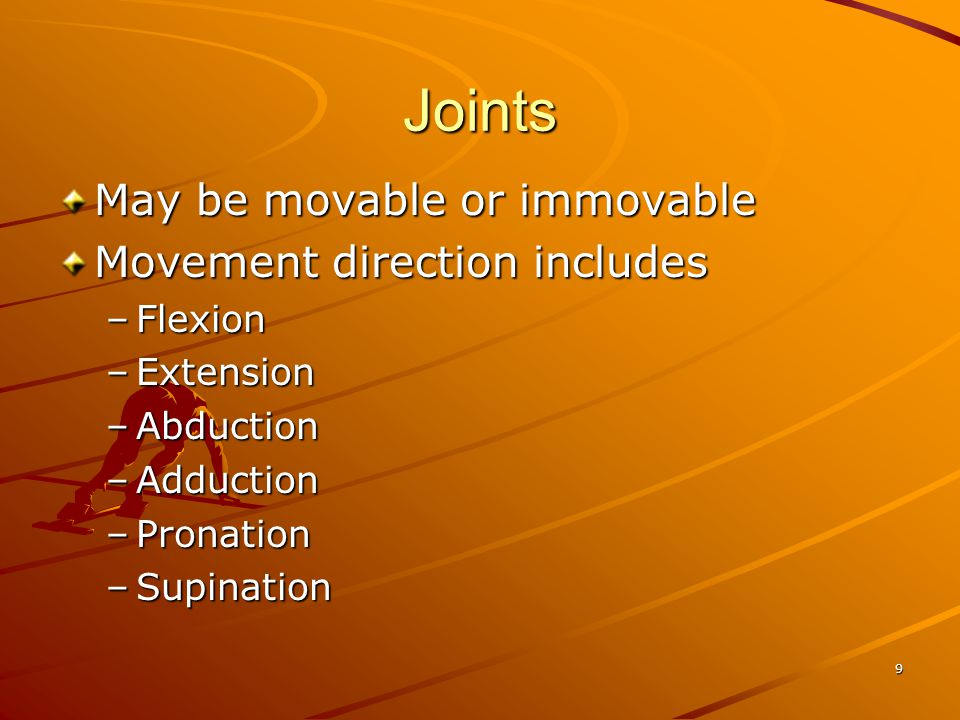Joints May be movable or immovable Movement direction includes Flexion